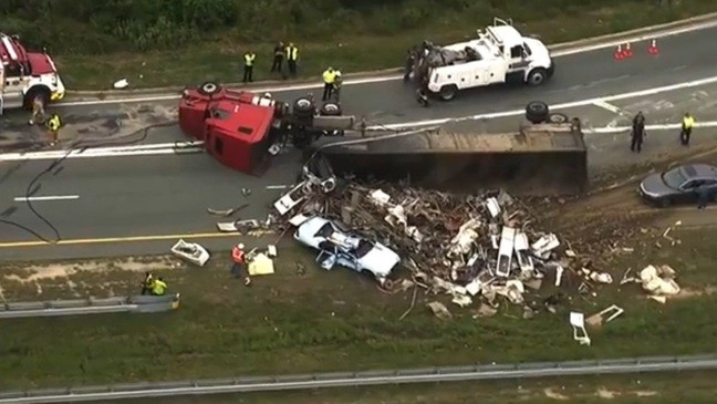 OVERTURNED TRACTOR TRAILER| Route 100 remains closed | WBFF