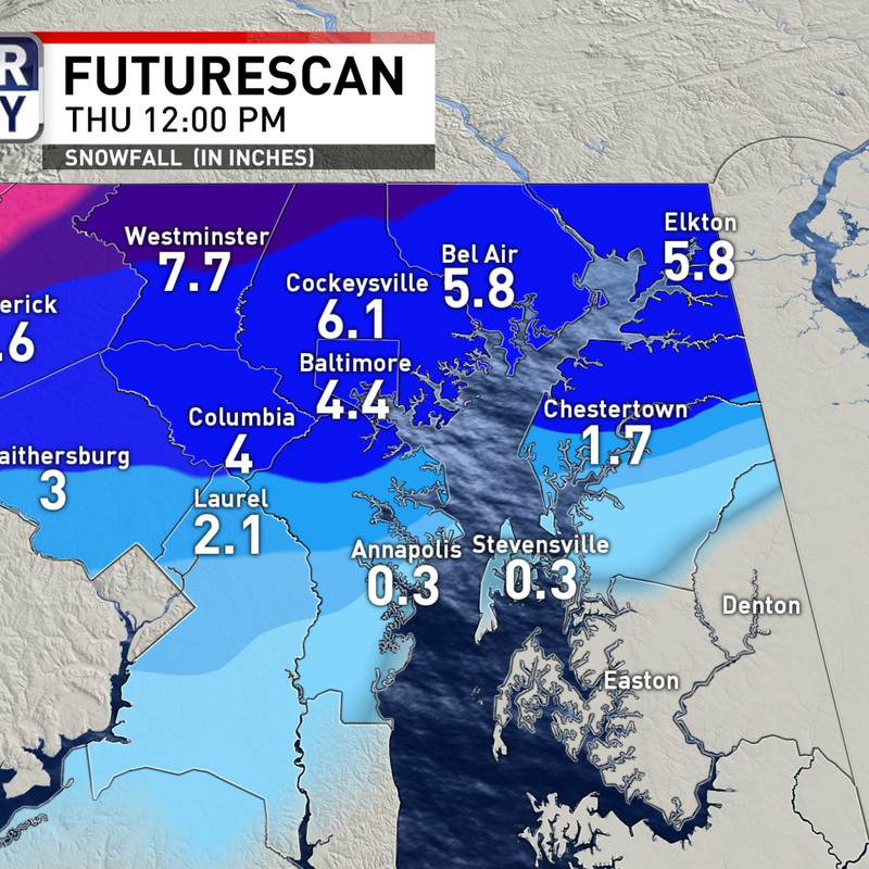 Winter Weather Double Digit Snow For Parts Of Baltimore Region On Wednesday Wbff