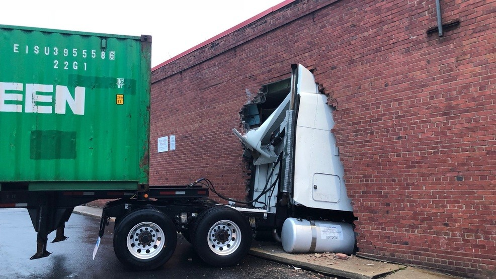 Runaway Truck Tractor Trailer Crashes Into Building